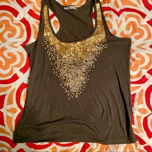Brown tank top with gold sequins
